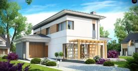 Проект удобного двухэтажного дома в стиле модерн с боковым гаражом.