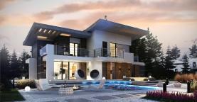 Современный двухэтажный дом с гаражом и террасой, спальней на первом этаже и ванной комнатой