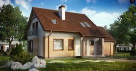 Версия проекта дома Z102 с гаражом, пристроенным справа.
