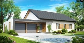 Практичный одноэтажный дом с двускатной крышей, с большим боковым гаражом.