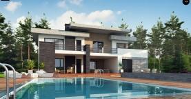 Красивый и комфортный дом с плоской кровлей, гаражом на две машины и просторными террасами.