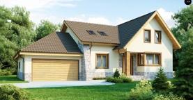 Проект традиционного дома с гаражом для двух машин и боковой террасой.