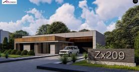 Современный одноэтажный дом c плоской кровлей и просторным гаражом для двух автомобилей.