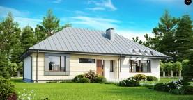 Одноэтажный дом с возможностью обустройства чердачного помещения, оптимальный для южного въезда на участок.