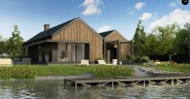 Проект современного дома с четким разделении дома на две части: дневную и ночную.