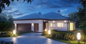 Удобный одноэтажный дом с гаражом для двух автомобилей, с большой площадью остекления в дневной зоне.