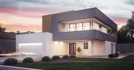 Современный двухэтажный дом с большой площадью остекления.