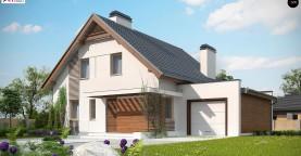 Проект мансардного дома в классическом стиле с гаражом на одно авто.
