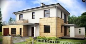 Современный двухэтажный дом простой формы с террасой на втором этаже.
