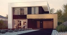 Респектабельный большой дом в модернистском стиле с подвалом.