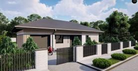 Современный одноэтажный дом с гаражом на одну машину, расположенным с левой стороны здания.