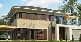 Проект функциональный двухэтажный дом с 4 спальнями и подвалом.