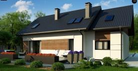 Красивый дом в традиционном стиле архитектуры, с комнатой на пером этаже и гаражом.