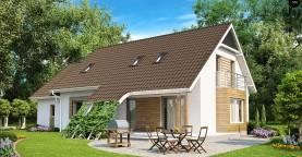 Проект просторного функционального дома с мансардой, гаражом для одной машины и дополнительной спальней на первом этаже.