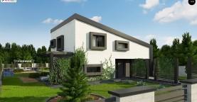 Проект двухэтажного дома с открытой дневной зоной и современным экстерьером.