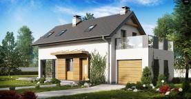 Практичный и уютный дом с оригинальным оформлением фасадов, идеальный для неглубокого участка.