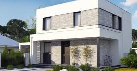 Вариант двухэтажного дома Zx92 с плоской кровлей с плитами перекрытия