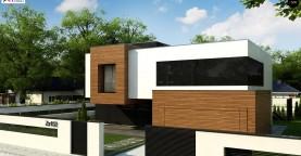 Двухэтажный коттедж с плоской крышей и большой террасой