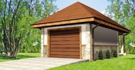 Аккуратный гараж в традиционном стиле на 1 машину