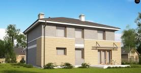 Комфортабельный двухэтажный дом простого современного дизайна. Кирпичная облицовка фасадов.