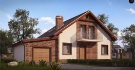 Проект мансардного дома - вариант Z63 c внесенными изменениями в планировку и гаражом для 1 авто