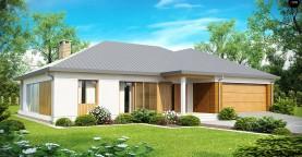 Проект практичного одноэтажного дома с фронтальным выступающим гаражом и крытой террасой.