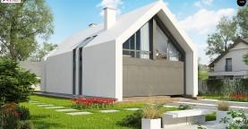 Мансардный дом со встроенным гаражом для одного автомобиля.