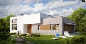 Одноэтажный практичный дом с плоской крышей современного дизайна.