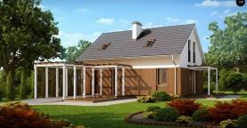 Проект дома в традиционном стиле с двускатной крышей.