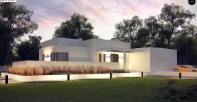 Современный проект с уникальным дизайном, оштукатуренным фасадом и гаражом