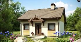 Выгодный в строительстве и эксплуатации маленький одноэтажный дом с крытой террасой.