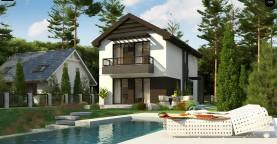 Проект двухэтажного дома в современном стиле, подойдет для строительства на узком участке.