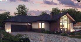 Стильный одноэтажный дом с панорамным остеклением в гостиной