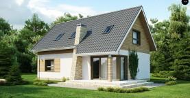 Традиционный дом простой формы с двускатной крышей, с дополнительной комнатой на первом этаже.