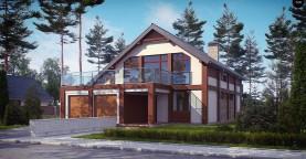 Просторный современный дом элегантного дизайна с террасой над гаражом.