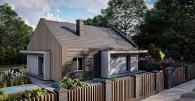 Проект традиционного одноэтажного дома с двускатной крышей.