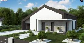 Современный одноэтажный дом с двускатной крышей и большой террасой