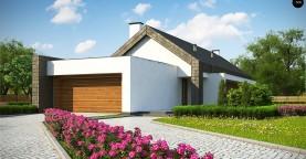 Современный дом с двускатной крышей на узком участке