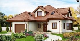Проект просторного и уютного дома с гаражом, эркером, красивыми мансардными окнами.