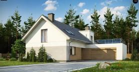 Cтильный мансардный дом с гаражом для двух машин