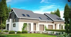 Простой и удобный дом для симметричной застройки с боковым гаражом.