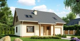 Проект традиционного дома с мансардой, со встроенным гаражом.