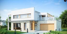 Практичный двухэтажный дом в современном стиле с обширной террасой над гаражом.