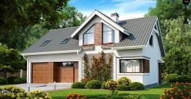 Дом со встроенным гаражом, красивым мансардным окном и вторым светом над гостиной.