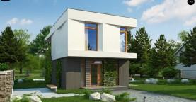 Проект двухэтажного дома в стиле кубизм, подходит для строительства на узком участке.