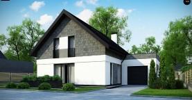 Мансардный дом с гаражом, расположенным с фронтальной стороны фасада