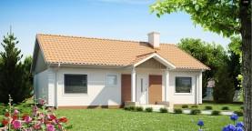 Одноэтажный дом простой формы с двускатной крышей
