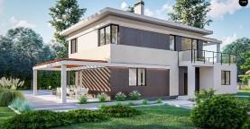 Современный двухэтажный проект дома с навесом