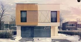 Дом характерного современного дизайна с гаражом и кабинетом на первом этаже.