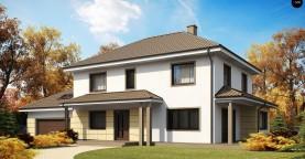 Просторный и функциональный двухэтажный дом с многоскатной кровлей и гаражом.